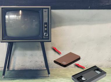 cassette vhs, disque dur, televiseur